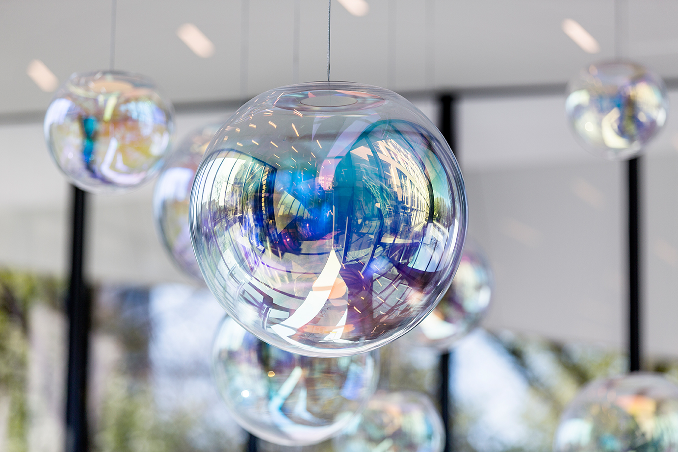 The Iris Pendant Lamp Appears Like A Permanent, Iridescent Soap Bubble.
